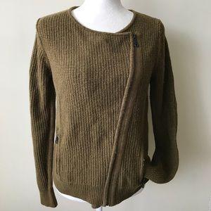LOFT Moto style army green Sweater / jacket